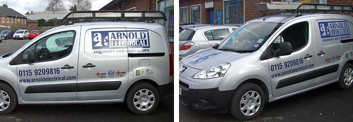 Photographs showing one of our new vans